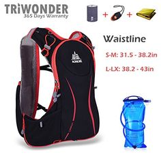 Triwonder 5L Lightweight Deluxe Marathoner Running Race Hydration Vest Hydration Pack Backpack Black LXL  with 15L Water Bladder -- Click image to review more details.