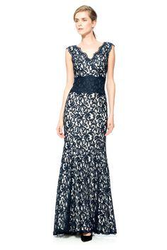 Contrast Lace Waist Gown | Tadashi Shoji
