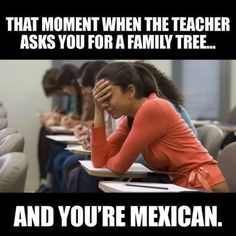 Things Mexicans Do People Find Weird #8: Drawing a complete blank when someone asks to make a family tree or name all the cousins.   It would be impossible to get all the primos down on paper. Plus, new family members emerge out of the woodwork at every quince, wedding or family reunion.