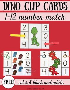 Practice counting numbers with these free dinosaur clip cards! A perfect way to work on number recognition and counting with preschool and kindergarten kids during a dinosaur theme! Dinosaur Theme Preschool, Dinosaur Activities, Autism Activities, Free Preschool, Dinosaur Classroom, Kindergarten Freebies, Numbers Kindergarten, Teaching Numbers, Teaching Tools