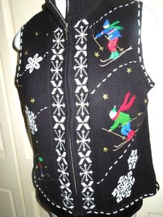 Vintage Ugly Skiers Christmas Party Sweater Vest SZ M #StudioJoy #UGLY