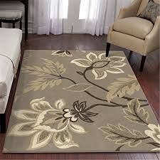 Cream Beige Floral Area Rug