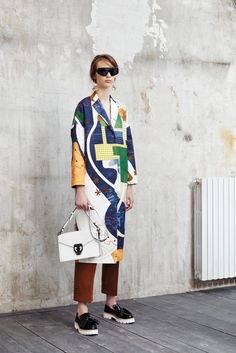 MSGM's interpretation of cartography in the form of a colorful coat. Love!
