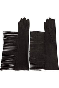 Lanvin|Fringed suede gloves|NET-A-PORTER.COM