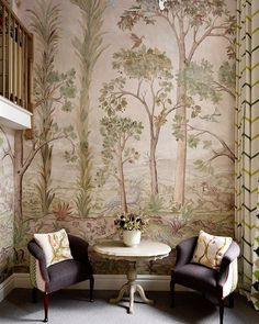 Taking the Bloomsbury Set for its inspiration, the Charlotte Street Hotel in central London brings together fine art and a fresh colour palette to create the perfect city luxury stay. French Walls, Tree Wallpaper, Scenic Wallpaper, Wallpaper Ideas, Bedroom Images, High Walls, Das Hotel, Wall Treatments, Blue Walls
