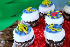 Sonic the Hedgehog Party by Cupcake Wishes & Birthday Dreams: Featuring Fondant Sonic Themed Cupcake Toppers from Edible Details
