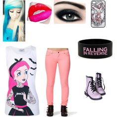 """""""Cute pink emo outfit"""" by paramorefan1221 on Polyvore"""