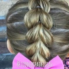 •VIDEO• How to do a pull-through braid! Head over to toddlerhairideas.com for the full/slow video tutorial! [Link in bio!]
