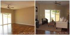 Staging ~ Living Room before and after.  Michael Rofail, Pacific Realty Investments