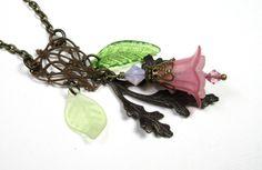 Spring Blooms Vintage Style Necklace Swarovski by jewelrybyNaLa, $39.75
