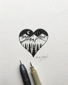 55 Cool & Easy Things to Draw in Your Sketchbook // Things to draw, drawing ideas, pen drawing, ink drawing, mountain drawing Beautiful Easy Drawings, Cool Easy Drawings, Easy Pen Drawing, Beautiful Pictures, Pen Sketch, Art Sketches, Baby Sketch, Drawings Pinterest, Drawings For Boyfriend
