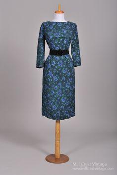 1950 Wool Challis Vintage Wiggle Dress