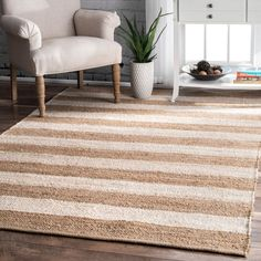 Boardwalk Jute And Denim Even Stripes Off White Rug Carpet Size, Grey Carpet, Round Area Rugs, Rugs Usa, Buy Rugs, Striped Rug, Jute Rug, Floor Decor, Contemporary Rugs