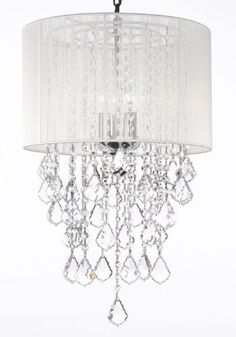 "Crystal Chandelier With Large White Shade! H24"" X W15"" - G7-B7/White/3/604/3"