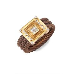 Charriol 18k Yellow Gold, Diamond & Bronze PVD Ring Bronze 7 ❤ liked on Polyvore