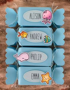 Lawn Fawn - So Jelly, Fintastic Friends, Whale You Be Mine, Milo's ABCs, Candy Box die, Stitched Labels _ super fun place card candy boxes by Emma (emmachizlett) via Flickr