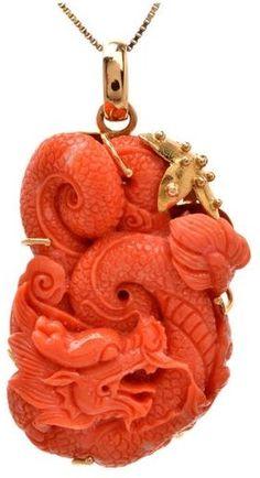 Natural Coral Gold Dragon Pendant