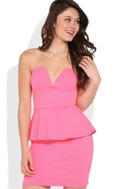 Deb Shops Textured Strapless #Peplum Dress with Deep V Neckline $26.25
