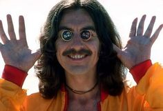 George Harrison having fun with eyecovers in Acapulco, January 1977