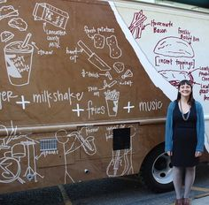 A few years back friends asked me to do some drawings for their burger truck. Of course I said yes (who wouldn't want to see their illustrations on a giant food truck?) so here's a dorky photo of me in front of the truck.  Unfortunately it doesn't exist anymore which is sad because now I never accidentally run into it anymore randomly around the city (which was always kind of thrilling) but it's also sad because they had super tasty burgers like the breakfast burger with egg and blueberry…