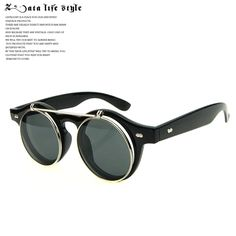 Steampunk flip double round sunglasses, vintage sunglasses retro men Lady tide people in Europe and America circle