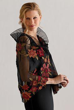 Floral Applique Wrap: Deborah Murphy: Silk Wrap - Artful Home