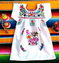 6065d3794829 Green Bird Mexican Embroidered Baby Dress por MexicanartDesigns