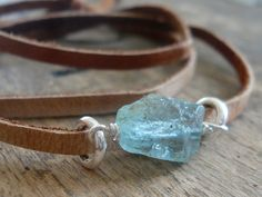 rough stone on leather bracelet... perfection!