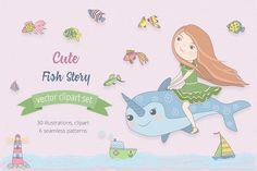 Cute Fish Illustration Set by Moving Parallels on London Illustration, New Year Illustration, Mermaid Illustration, Autumn Illustration, Monster Illustration, Black And White Illustration, Christmas Illustration, Graphic Illustration, Mermaid Clipart