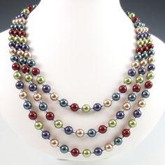 Swarovski #Crystal #Pearl Three Strand #Necklace - Jeweltone Color Palette #jewelry #thecraftstar $175.00