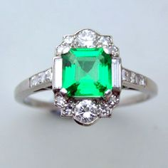 Antique Emerald-- this is so frigging beautiful. Who needs a diamond, CORRECTION, who would want a diamond, when one could wear this?