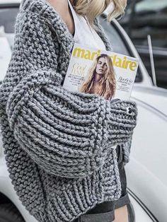 Sharea Plushy Hand Made Knit Cardigan - Knitting Cardigan Chunky Knit Cardigan, Sweater Cardigan, Cardigan Outfits, Knit Fashion, Sweater Fashion, One Piece Swimwear, Pulls, Long Sleeve Sweater, Hand Knitting