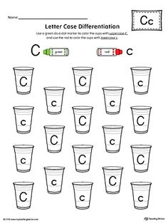 Letter Case Recognition Worksheet: Letter C Worksheet.This fun and coloring activity helps preschoolers and kindergarteners recognize the difference between the uppercase and lowercase C. Letter C Preschool, Letter C Activities, Alphabet Letter Crafts, Preschool Writing, Letter Worksheets For Preschool, Alphabet Worksheets, Printable Worksheets, Free Printables, Kindergarten Addition Worksheets