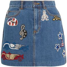 Marc Jacobs Embellished appliquéd denim mini skirt (2.290 RON) ❤ liked on Polyvore featuring skirts, mini skirts, bottoms, saias, denim, blue, sparkle skirts, comic book, denim mini skirt and embellished mini skirt