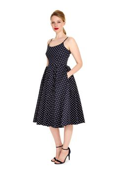 d98ea73951 The Pretty Dress Company printed dresses all in one place Priscilla Navy Polka  Dot Midi Dress - Harlow Black Fishtail Gown