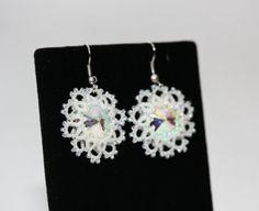 Handmade earrings Snowflake tatted earrings jewelry by LacyJewelry, $16.95