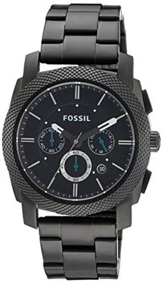 Shop for Fossil Men's 'Machine' Black Stainless Steel Chronograph Dial Silicone Strap Watch. Get free delivery On EVERYTHING* Overstock - Your Online Watches Store! Fossil Watches For Men, Cool Watches, Men's Watches, Citizen Watches, Trendy Watches, Wrist Watches, Rolex Submariner, Rolex Daytona, Black Stainless Steel