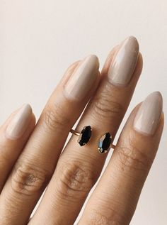 Striking yet dainty Double Marquis Ring by @bingbangnyc offset by a perfect nude nail!  #BingBangNyc #manicure #nude #nudenails #ring #jewelry