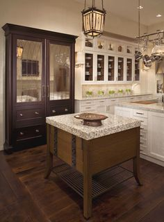 This is a keeper for it's conceptually superior qualities - the large brown/mirrored door cabinet is a 700 series Sub Zero w/ refrig. drawers below. True Inspiration. Brills. Kitchen Interior, New Kitchen, Room Interior, Kitchen Dining, Kitchen Ideas, Awesome Kitchen, Kitchen Stuff, Kitchen Inspiration, Kitchen Decor