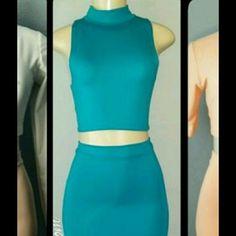 Teal crop top and midi skirt set Handmade crop and midi set. Can fit small or medium Skirts Midi