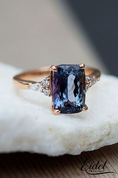 33 Sapphire Engagement Rings By Eidel Precious ❤️ eidel precious engagement rings solitaire radiant cut rose gold deep blue 3.36a ❤️ See more: http://www.weddingforward.com/eidel-precious-engagement-rings/ #weddingforward #wedding #bride