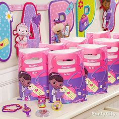 Adorable takeaways for up to 8 guests are painless with a Doc McStuffins favor pack!