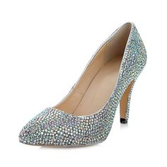 Leather Women's Wedding Stiletto Heel Pumps with Rhinestone Shoes – USD $ 64.99  Mother of the Bride Shoes