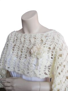 wedding bridal capalet or shawlhand crochet cowl wrap by fone