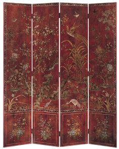 folding screens - red oriental folding screen painted with birds and flowers on antiqued red - #red #painted #handpainted #foldingscreen