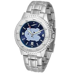 """North Carolina Tar Heels NCAA Anochrome """"Competitor"""" Mens Watch (Steel Band) by SunTime. $93.99. Calendar Date Function. Rotating Bezel. Color Coordinated. Showcase the hottest design in watches today! The functional rotating bezel is color-coordinated to compliment your favorite team logo. The Competitor Steel utilizes an attractive and secure stainless steel band. The AnoChrome dial option increases the visual impact of any watch with a stunning radial reflection similar to ..."""