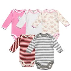 5pcs/lot Baby Boy Clothes Long Sleeved Cartoon Bodysuit