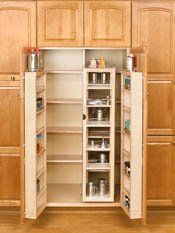 This is a cabinet pantry by Rev-A-Shelf. These kitchen pantries are available in heights of 45 inch, 51 inch and 57 inch . The cabinet storage pantries feature adjustable shelves with chrome rails, adjustable door mount brackets, and top storage shelf. Kitchen Pantry, New Kitchen, Kitchen Decor, Kitchen Cabinets, Kitchen Ideas, Pantry Ideas, Awesome Kitchen, Kitchen Layout, Kitchen Hacks