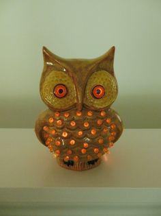 Owl Light Retro Gold Electric Light Up Ceramic Owl by ellesh71, $22.00