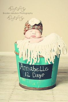 Love the chalkboard space on the front of the bucket - Newborn Photography Ideas